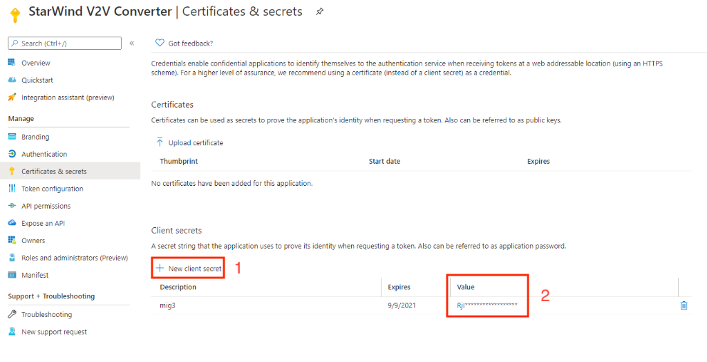 Azure Active Directory - App registration - Certificates & secrets