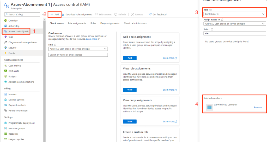 Azure Subscription - Access control (IAM)